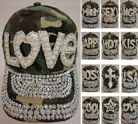 Camo Hat with Bling/Pearls [Assortment]